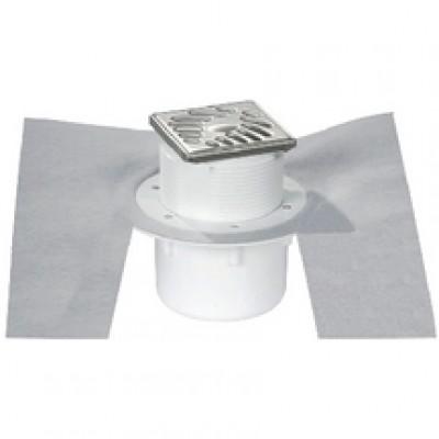 Siphon sol carrelé avec grille inox sortie verticale NICOLL