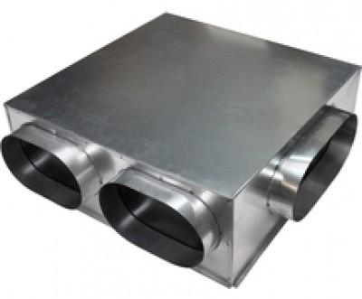 Plénum en acier galvanisé 600x600mm 2x200mm 1x250mm BAILLINDUSTRIE
