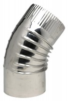 Coude inox 304 BR45° plissé diamètre 125 TEN