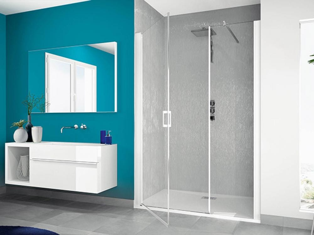 Paroi de douche smart 2 portes pivotantes dimensions 77x81 cm chrom kinedo douche marseille - Paroi de douche pivotante ...