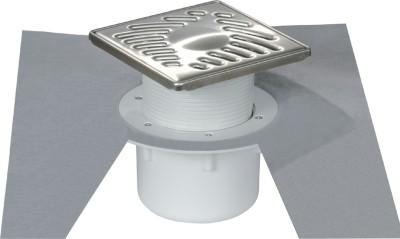 Siphon 15x15 grille inox sortie verticale 50x63