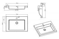 Plan de synthèse PRIMEO cuve carrée avec trop plein intégré 70cm