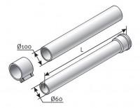 Rallonge ventouse condensation 60/100 0,5m SAUNIER DUVAL
