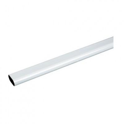 Tube ovale 30x15mm acier blanc 200cm