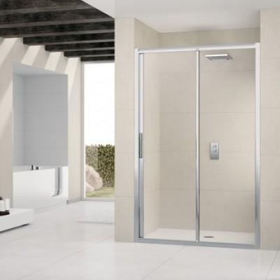 Paroi de douche lunes 2p coulissante + f 102 verre transparent blanc NOVELLINI