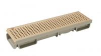 Caniveau bas PVC 6x13cm 0,50m avec grille PVC sable A15 NICOLL