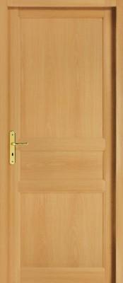 Bloc-porte bois exotique 3 panneaux selve 204x83cm droite poussant huisserie 72x45cm RRE - ROZIERE
