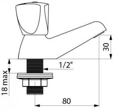 Robinet Simple De Lavabo Mâle 15x21 Avec Têtes à Clapet Delabie
