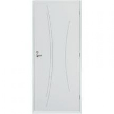 Bloc-porte alvéolaire TH1 KAORI prépeint avec huisserie 90 néolys blanc à recouvrement avec serrure 3 points 83cm droite poussant RIGHINI SAS