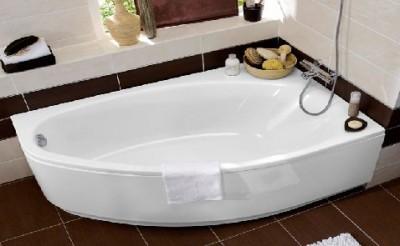 Baignoire amande acrylique blanc 160x100cm gauche