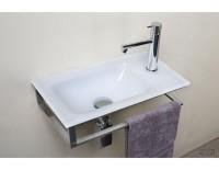 Lave-mains cristal en verre extra blanc 16x35x35cm