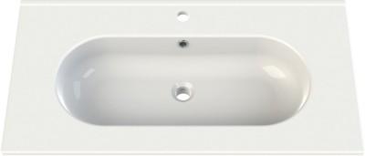 Plan céramique 90cm SEDUCTA 2 blanc 1 vasque centrée