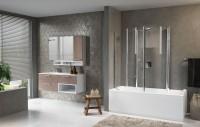 Pare-baignoire AURORA 4 pivotante 80 verre transparent blanc NOVELLINI