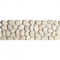 Frise galets ronds mat beige 10x30cm