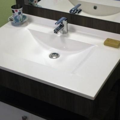 Plan vasque moulé centré blanc 60cm NABIS
