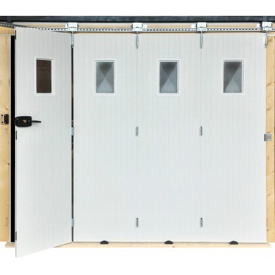 Porte de garage pvc 2000x2400mm coulissante blanc avec for Porte de garage en 3 metre de large