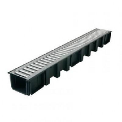 Element PVC caniveau 1000x130mm grille acier galva