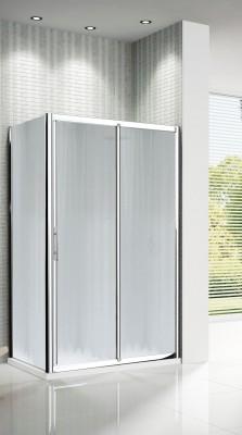 Parois de douche LUNES 2 panneaux coulissant et fixe 138 verres transparents blancs chromé - NOVELLINI