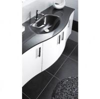 Plan vasque DUNE verre gris largeur 105cm gauche