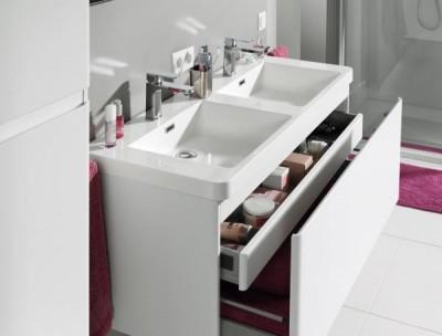 Meuble sous vasques club blanc brillant 81 5x54 5x44 5cm for Meubles sous vasques