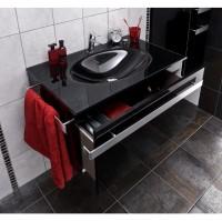 Plan vasque en verre LOFT noir longueur 80cm