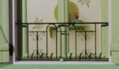 Balcon VERNEUIL avec main courante fer 65x130cm
