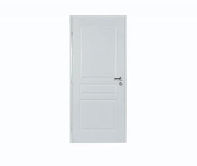 Bloc-porte postformé 3 panneaux à recouvrement 204x83cm droite poussante huisserie sapin 88x58