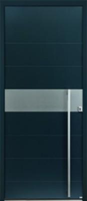 Porte d 39 entr e aluminium gris 7016 2 faces d120 215x90cm for Porte d entree largeur 120