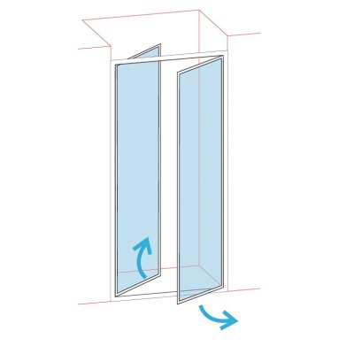 Paroi de douche portes battantes longueur 76/82 verre sérigraphié BASIC SEGMENT