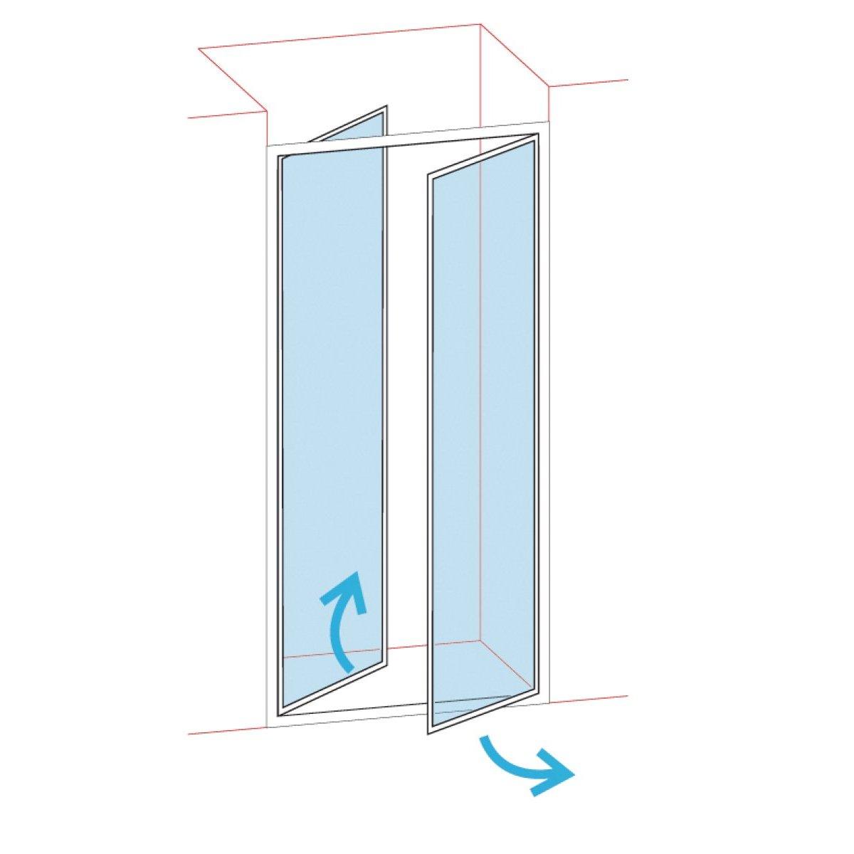 paroi de douche portes battantes longueur 76 82 verre. Black Bedroom Furniture Sets. Home Design Ideas