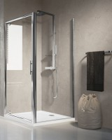 Paroi de douche LUNES F fixe verre 78cm granité blanc/chromé NOVELLINI