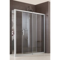 Porte de douche JAZZ fixe coulissante 136 argent verre transparent LEDA