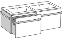 Plan de toilette LOFT en résine blanc 3x120.5x51cm 2 vasques
