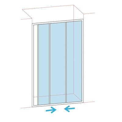 Paroi de douche coulissantes largeur 116/122 verre sérigraphie BASIC SEGMENT