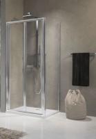 Porte de douche LUNES S pliante 84cm verre transparent, profilés blanc/chromé NOVELLINI