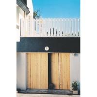 Porte de garage sapin 210x240cm 4 vantaux refoulement à droite