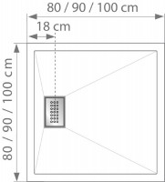 Receveur à encastrer KINESURF 120x90cm