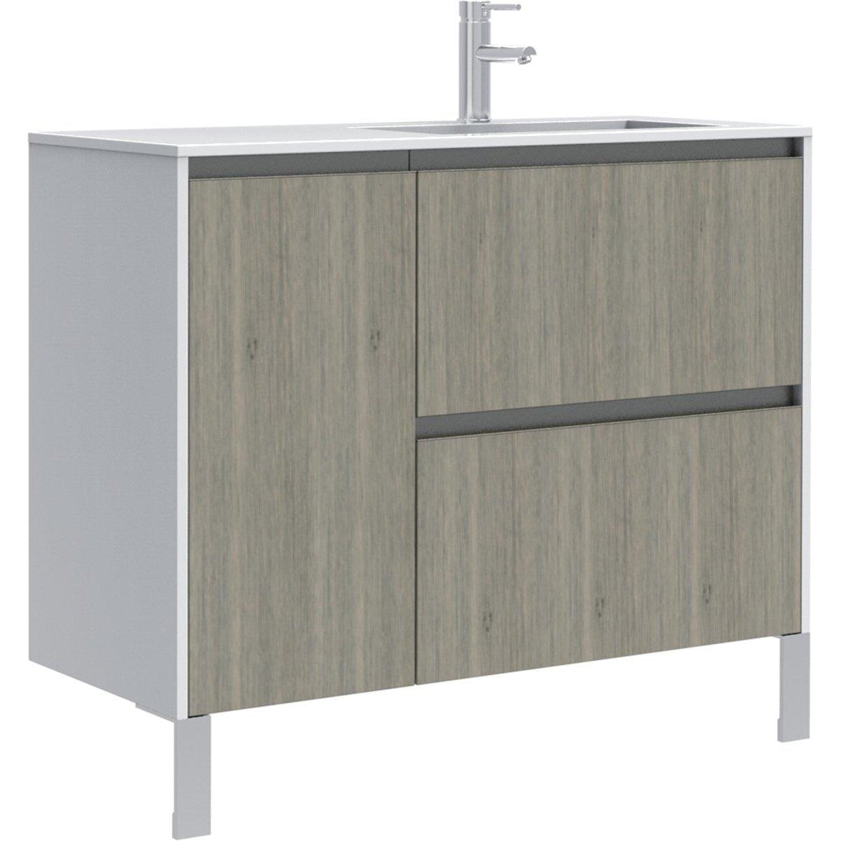 Meuble sous vasque plenitude 105cm 2 tiroirs 1 porte for Meuble sous vasque 2 tiroirs