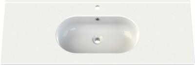 Plan céramique 120 SEDUCTA 2 blanc 1 vasque centrée