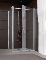 Porte de douche JAZZ pivotante 90cm ouverture totale blanc verre transparent LEDA