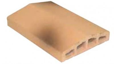 Chaperon mur terre cuite 2 pentes 23x34cm aspect brique jaune flammé épaisseur 6cm HERMOUET TERRE CUITE