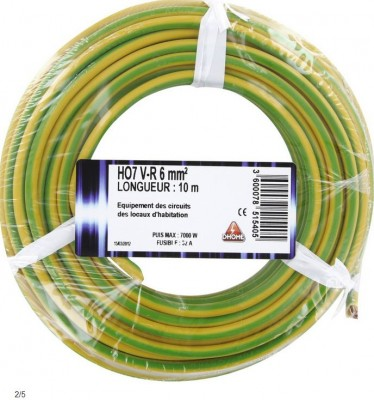 Câble électrique vert/jaune 6mm²/10m BRICODEAL SOLUTIONS
