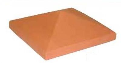 Chapeau de pilier pointe diamant rouge pour pilier fini maxi 39x39cm HERMOUET TERRE CUITE