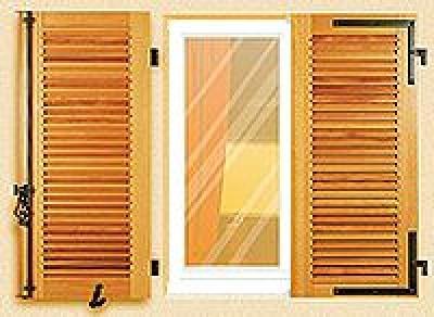 Volet battant bois persiennés à la française CALLIOPE hauteur 700mm x largeur 1500mm SOTHOFERM