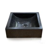 Vasque de salle de bains à poser carrée HALFMOON noir en terrazzo OCEAN LINE
