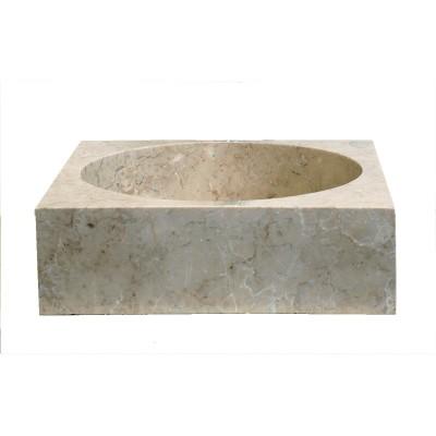Vasque de salle de bains carrée en marbre crème 43cm, circa OCEAN LINE