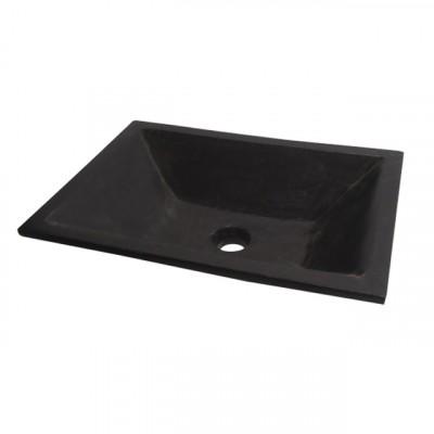 Vasque de salle de bains à poser QUADRA rectangle, Noire en terrazzo OCEAN LINE