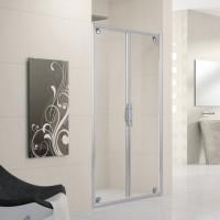 Porte de douche LUNES B pivotante 102 verre transparent blanc/chromé NOVELLINI