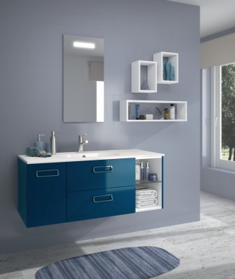 meuble sous vasque seducta 30cm niche bleu p trole. Black Bedroom Furniture Sets. Home Design Ideas