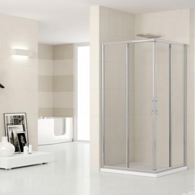 Paroi de douche LUNES AL coulissante + fixe 69cm verre transparent blanc/chrome NOVELLINI